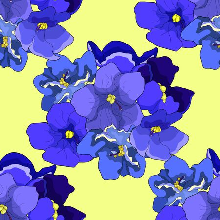 seamless pattern Violet flower of pansies  vector illustration Ilustrace