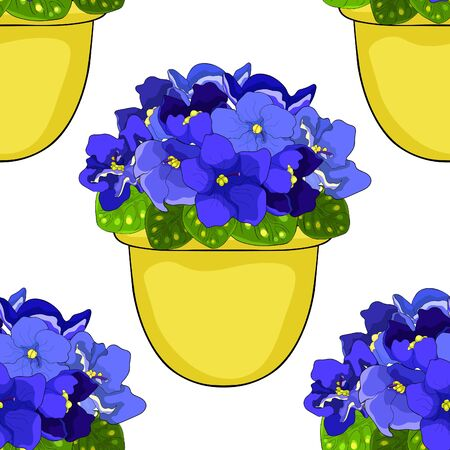 seamless pattern Violet flower of pansies in a pot home vector illustration