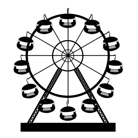 silhouette attractions and entertainment ferris wheel vector illustration Ilustrace