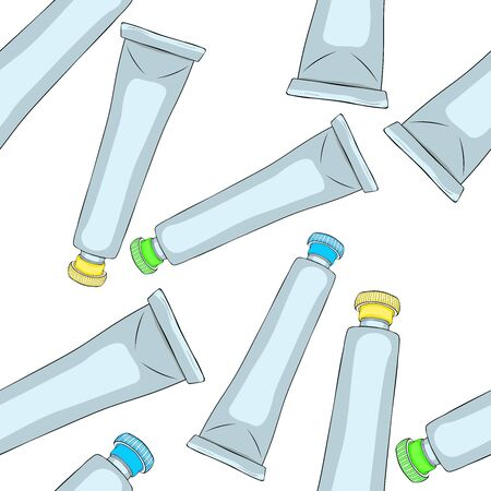 seamless pattern paint in a drawing tube paints vector illustration Illustration