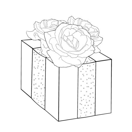 coloring gift in a beautiful package with a rose flower vector illustration
