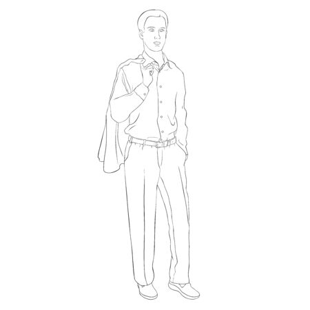 coloring Young man in a business suit vector illustration