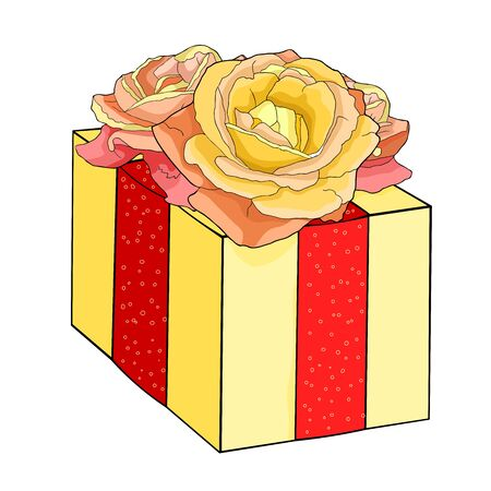 gift in a beautiful package with a rose flower vector illustration 矢量图像