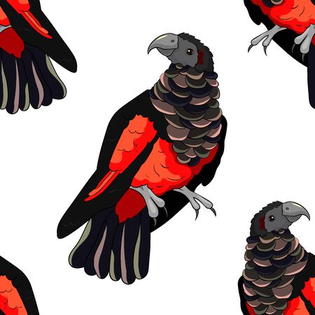 seamless pattern eagle black-red griffon parrot vector illustration
