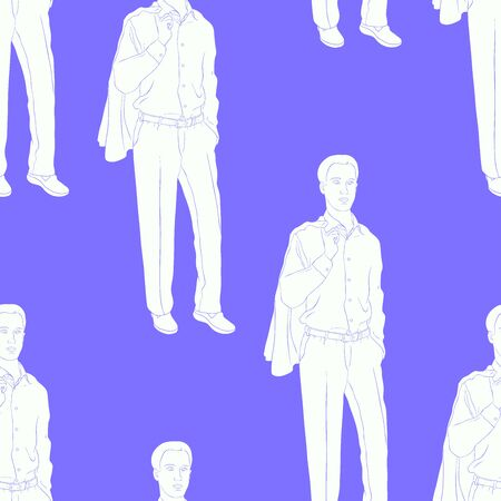 seamless pattern Young man in a business suit vector illustration 矢量图像