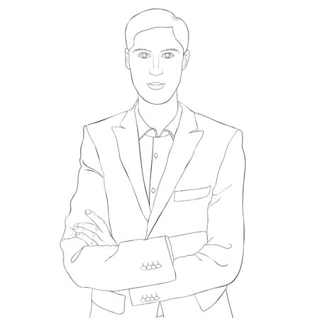 the coloring Young man in a business suit waist-high vector illustration 矢量图像