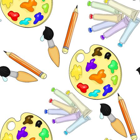 the seamless pattern brush, pencil, palette for drawing paints vector illustration