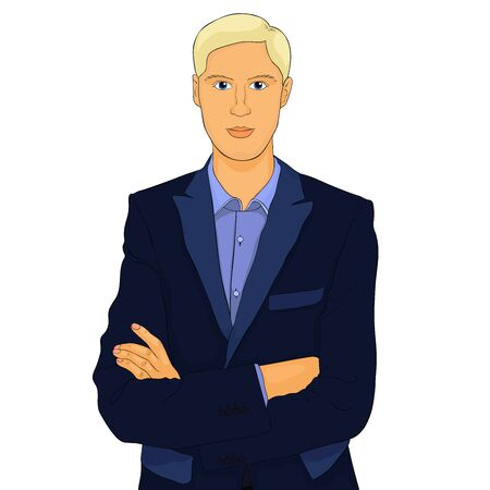 the Young man in a business suit vector illustration