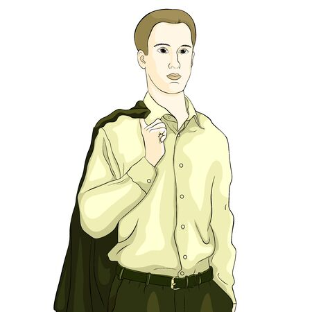 Young man in a business suit waist-high vector illustration