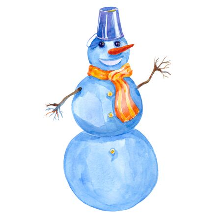 Cheerful winter smiling snowman watercolor illustration