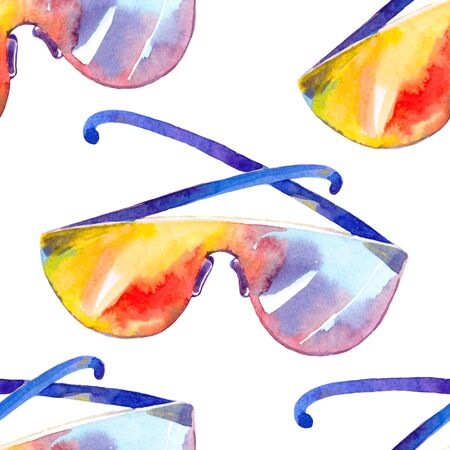 seamless pattern  summer sun protection glasses watercolor illustration