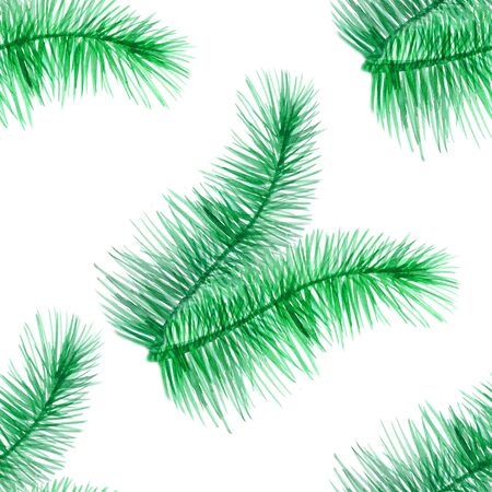 seamless pattern branch of green needles of a Christmas tree. watercolor illustration 免版税图像