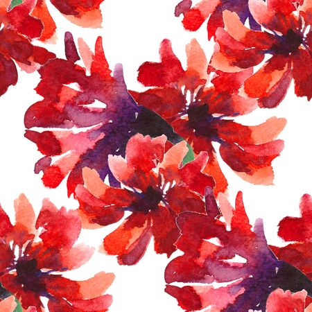 seamless pattern is nature red flowers watercolor illustration