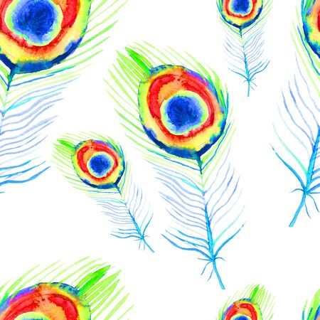 seamless pattern is peacock bird feather watercolor illustration 免版税图像