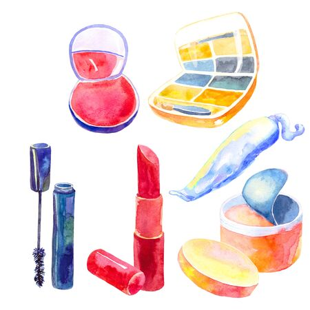 set of cosmetics for the face of women and girls watercolor illustration