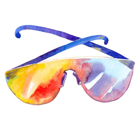the is summer sun protection glasses watercolor illustration