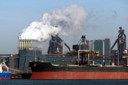 Blast furnaces with large ship in front