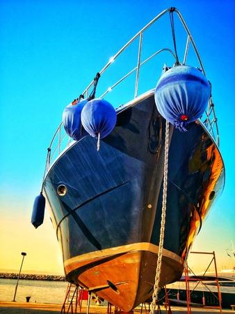 Blue ship in Thessaloniki port
