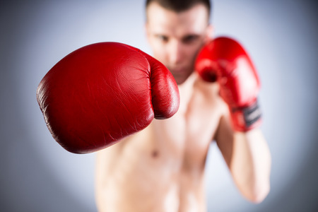 Boxing. Fighters glove close-up. Bokeh. photo