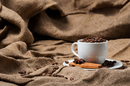 aniseed: Coffee beans, cinnamon and aniseed in coffee cup Stock Photo