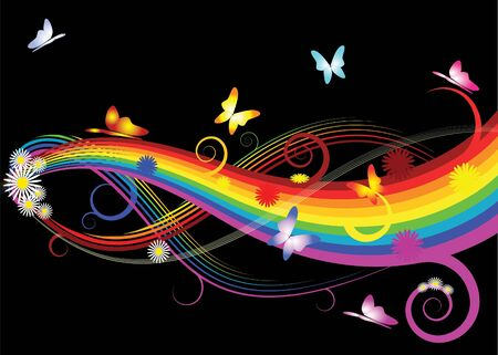 Rainbow with flowers and butterflies on black background Stock Photo - 1977709
