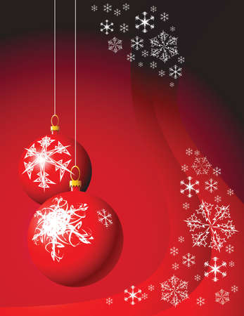 Christmas bulbs with snowflakes on red background photo