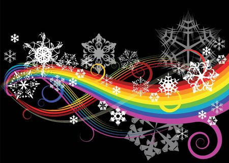 Abstract rainbow curves with snowflakes photo