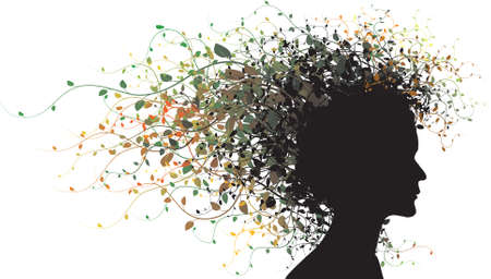 Floral girl silhouette - colored     photo