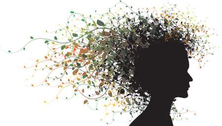 meisje silhouet: Floral meisje silhouet - gekleurd