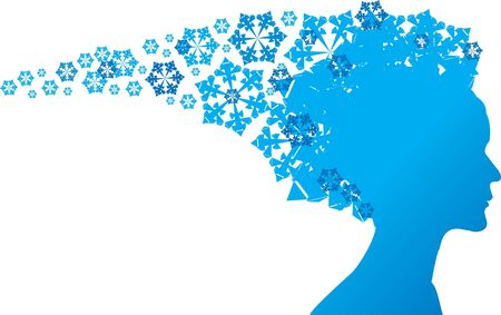 Snow Queen - blue silhouette on white background photo