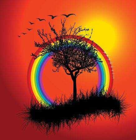 Autumn sunset with rainbow - vector illustration illustration