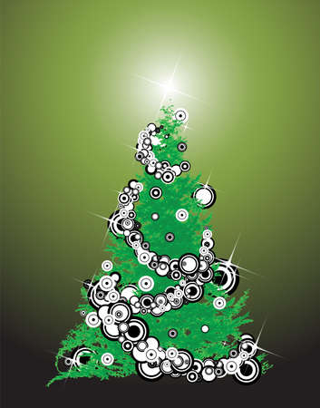 Abstract christmas tree with decorations - illustration Stock Illustration - 2051138