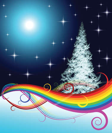 Vector - Fractal Christmas tree with rainbow on night background Stock Photo - 2051116