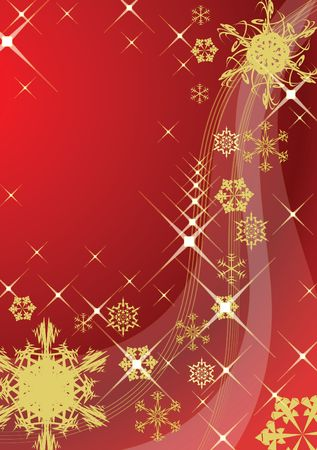 Abstract christmas background with various golden snowflakes photo