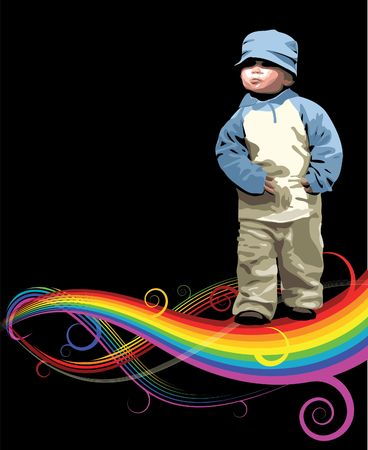 poppet: Small girl on the rainbow with black background