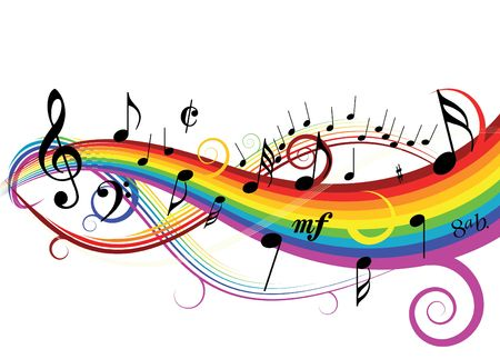 rainbow colours: Music theme - notes on white background with rainbow