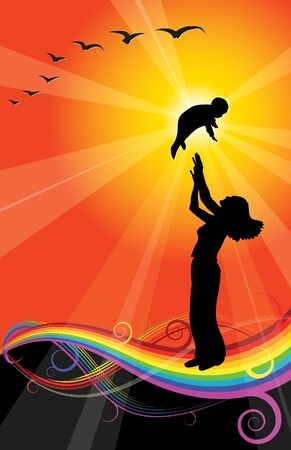 silhouete:  love - women and her child
