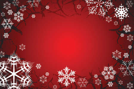 cranny: Snowflakes on a red grunge background