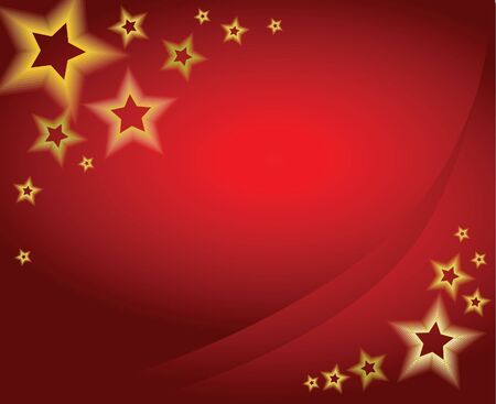 ice slide: Red christmas background  card with golden stars