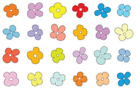 Simple flower pattern on white background photo