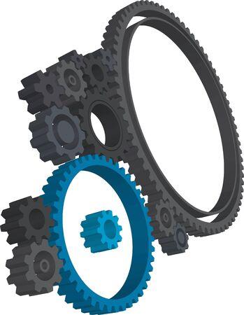 Various 3D cogwheels on white background Stock Photo - 2136418
