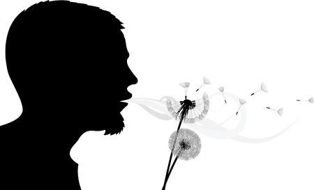 fertility: Blowing into dandelion - silhouette Stock Photo