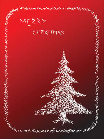 Hand drawn christmas tree on a red background photo