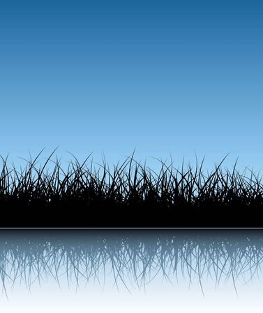 pasturage: Blue vector grass background with reflections in the water