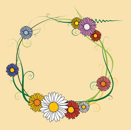 Frame made of spring flowers photo