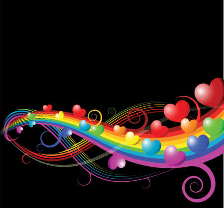 Abstract rainbow curves with hearts - valentines card photo