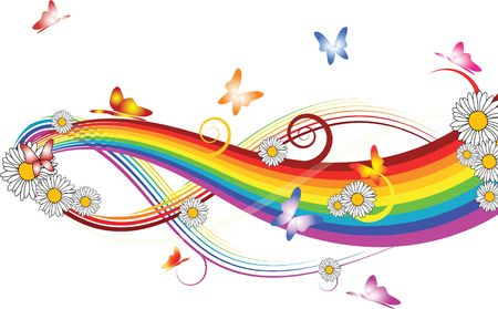 flower of live: Rainbow with flowers and colorful butterflies on white background Stock Photo