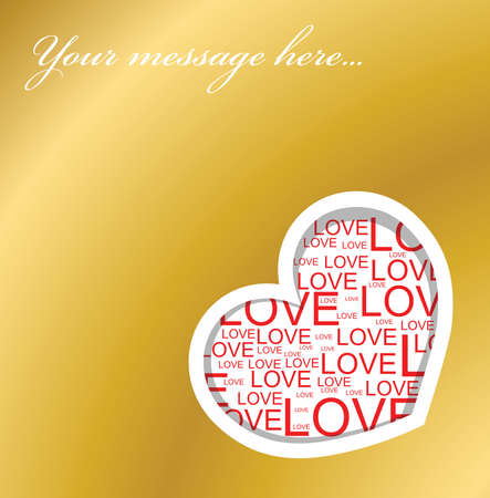 Golden love card with heart and place for your text photo