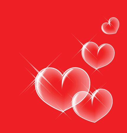 Glassy bubble hearts on red background photo