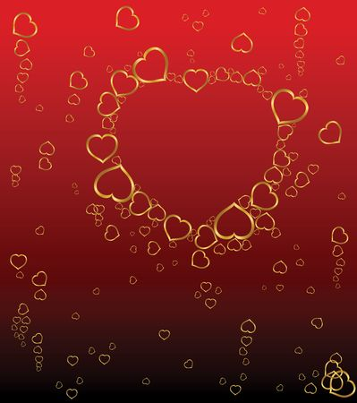Red Valentines background with golden hearts photo